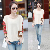 Hot Autumn Fast Shipping Women loose pullover Striped sweater stitching Free Shipping
