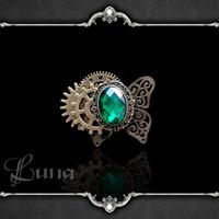 Gothic Jewelry Victorian Age Steam Punk Style Luna hand for - steam punk steampunk stone ring