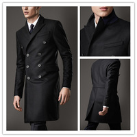 2014 Custom Free shipping Generic name brand fashion black Long jacket  Mens Casual slim fit  informal Suit  for men A185