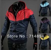 Free shipping 2013 fashion spell color man jacket, Slim Korean men jacket, men coat, M-XXL