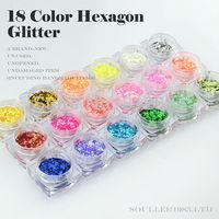 New 2013 Supernova Sale 3d Nail Art Decorations 18 Colors Mix Rhombus Hexagon and Glitter Nails Decoration Nail Supplies G011