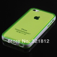 Dual color TPU case + Bumper Frame Case For iPhone 5C 5 C Iphone5C Clear Crystal Transparent back skin cover Cases 20pcs