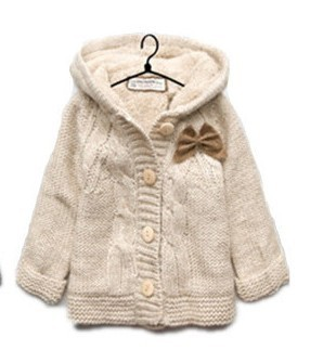 hooded  ZA** Children' s thick brushed winter autumn sweater casual bow  cardigan baby girl kid's knitwear overcoat outercoat