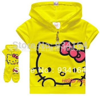 Big Promotion 2014 New Style Girls 2-Pieces Outfit Kids Children Suit Summer Clothing Hello Kitty Hat Coat + Pants 90cm-130cm