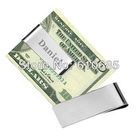 Simple Money Clips  Stainless Steel Money Clips Personalized Money Clips Pink Gift Box (6Pieces/lot)