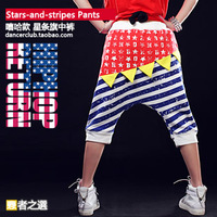 Hip-hop hiphop jazz stars and stripes color block patchwork big capris 2ne1 table costume