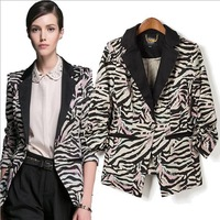 2013 New European Style Brand New Zebra 4 Size Suits Outerwear Spring Fall Winter Women Lady free Shipping CL782