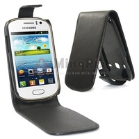 BLACK MAGNETIC PU LEATHER CASE FLIP COVER POUCH FOR SAMSUNG GALAXY FAME S6810