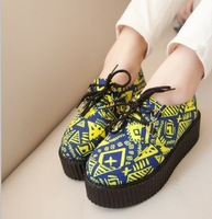 2013 women's platform shoes HARAJUKU doodle print round toe lacing shoes