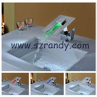 Deck mounted single handle chrome finish three color led bathroom Faucet LD8005-16A