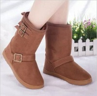 Free shipping.2013 New arrival fashion ladies/women flat snow boots.Winter warm snow boots for women.Buckle boots.