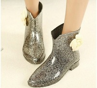 drop shipping rain boots for women shoes woman 2013 ladies fashion martin ankle booties flowers glitter spring autumn  SXX35846