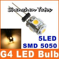 Hotsale Energy Saving 100 Pcs DC 12V Car G4 Base White 5050 SMD 5-LED Bulb Light Lamp