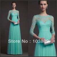 Fabulous A-line Empire Waist Scoop Neck Mint Green Tulle Long Prom Gowns with Sleeves Lace 2014
