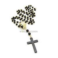W7Tn Hot Sale Pop Golden Black Bead Long Cross Necklace Women