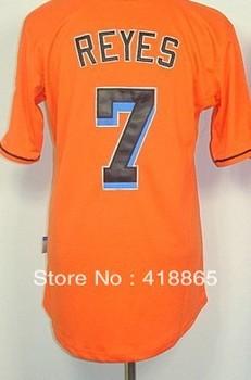 Accept Mix Order Wholesale&Retail 2013 New Cheap Florida Mens #7 Reyes Orange/White/Black Baseball Jersey Embroidery