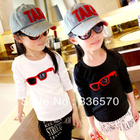 2013 children's clothing three-dimensional glasses 100% children's cotton clothing medium-large female child long-sleeve T-shirt