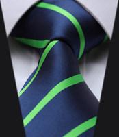 "TS2013G8 Navy Blue Green Stripe 100%  Silk 3.4"" New  Jacquard  Woven Classic Man's Tie Necktie"