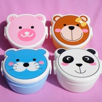 800-1000ml High Heat Resistant Cartoon Fashion Double Layer Plastic Bento Lunch Box w Spoon Free Shipping C279