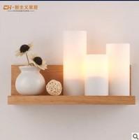 Modern minimalist bedroom bedside lamp warm rubber wood balcony aisle creative personality Wall