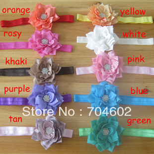 Wholesale Europe and America Hot Sale Baby Girl Multilayer Rhinestone Chiffon Fabric Flower Elastic Headbands 200Pcs FD152