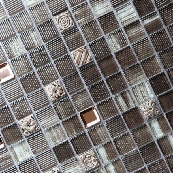 glass mosaic tile metal glass blend mosaic kitchen