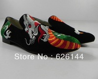2013 wholesale fashion men's flats patchwork prints round toe slip-on red bottom men's shoes plus size39-47