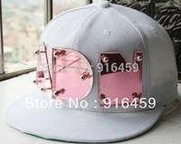 Free shipping 2014  christmas gift ADN Crystal  Pink white blue PUNK Hiphop baseball snapback Rivet Spike studded Cap hats