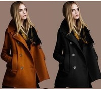 FREE SHIPPING 2013 new autumn winter fashion double breasted coat ladies wool  outerwear overcoat plus size trench SML044