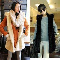 Faux vest outerwear medium-long outerwear vest faux with a hood overcoat female