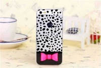 DHL free 100pcs Bulk Bowknot Butterfly Tie Kitty Style Clear Hard PC Case Cover For Apple iphone 4 4G 4S 5 5S W Retail Package