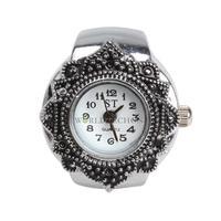 W7Tn Fashion Lovely Creative Tibet Silver Petal Flower Quartz Ladies Finger Ring Watch