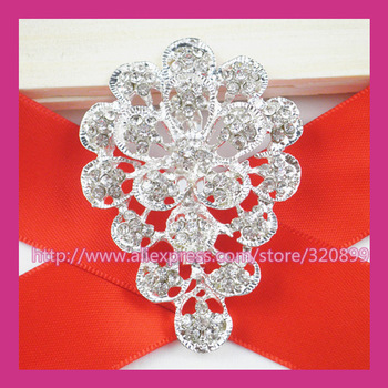 100pcs/lot 42*60mm Silver Rhinestone Brooch,Wedding Pin For constume/Chair Sash/Invitation Card/DIY accessory