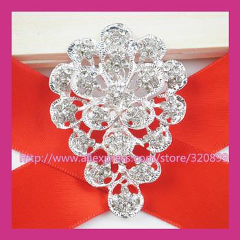 100pcs/lot 42*60mm Silver Rhinestone Brooch,Wedding Pin For constume/Chair Sash/Invitation Card/DIY accessory