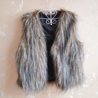 2013 normic fashion short design faux cape vest waistcoat fur short vest design