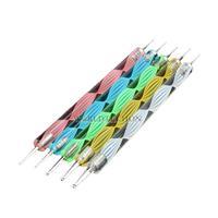 W7Tn Hot Sale Colorful 5PCS Nail Art Tool Dotting Painting Marbleizing Pen Double End