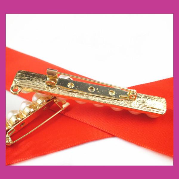 100pcs/lot 64*8mm gold Pearl Strip Rhinestone Brooch,Wedding Pin For constume/Chair Sash/Invitation Card/DIY accessory