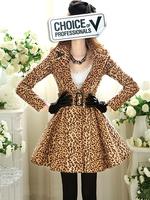 Free shipping 2013 autumn leopard print large lapel slim waist big skirt overcoat outerwear fashion coat