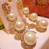 Free shipping fashion pearl rhinestone Female fashion vintage big stud earring earrings marriage style cute & lovely for ladies