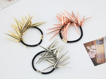 Stylish DIY Rose Red/Golden/Sliver Nail Hair Ring Rubber Band Headband Hair Accessory