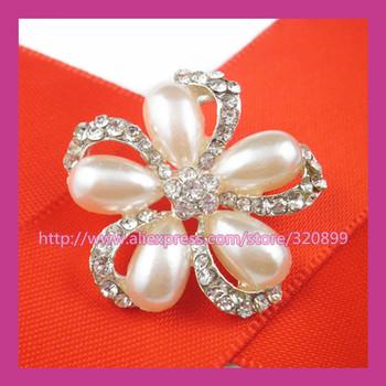 100pcs/lot 25mm SilverPearl Flower Rhinestone Brooch,Wedding Pin For constume/Chair Sash/Invitation Card/DIY accessory