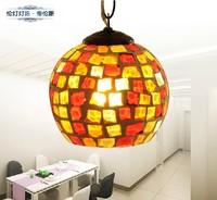 FREE shipping!!! Colorful LED Lighting Luxury Merlons Mosaic Pendant Lights , Fashion Round Indoor  Handmade bar rustic lamp