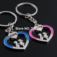 Free shipping (3 pairs/lot) llavero del corazon fine heart keyring bijoux zinc alloy fashion love heart key chain for lovers