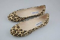 Fashion fashion horse hair flat single shoes shallow mouth round toe genuine leather leopard print women's shoes brief all-match