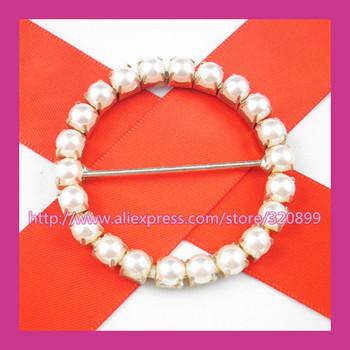 200pcs/lot 50mm Outer pearl Circle  Wedding Belt Buckles  Rhinestone Chair Sash Buckle  for Wedding ,Big Rhinestone Shoe Buckle