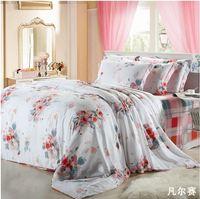 purple flowers comforter cover king size 4pcs silk/linen home textile duvet cover bedsheet Tencel bedclothes bedding set