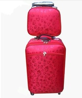 Free shipping female red box married trolley box wedding box luggage sets, 20 inch and 24 inch, red color