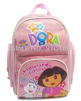 Free shipping Children cartoon Dora zipper shoulder School bag baby backpacks kids Girls bookbags student bag