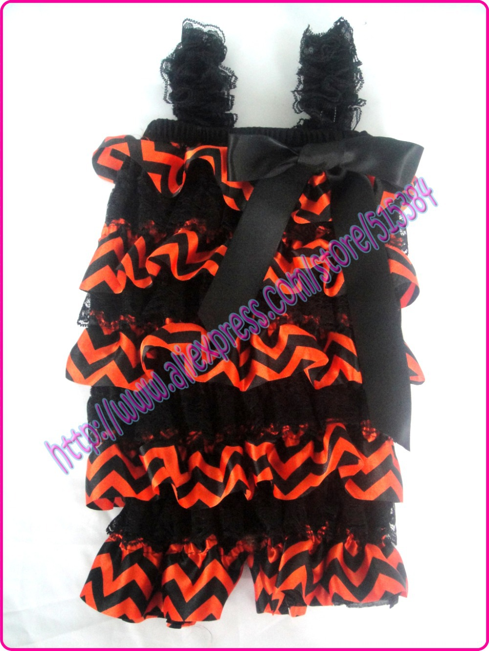 orange black chevron holloween petti rompers baby girls posh lace satin romper Birthday Outfit Romper12pcs/lot free shipping(China (Mainland))