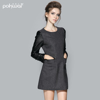 2013 autumn long-sleeve dress formal fashion long-sleeve o-neck short  slim wool one-piece dress